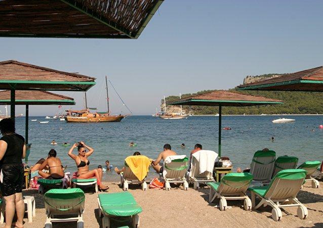 Una playa en Kemer, Turquía