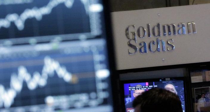 Una pantalla en la Bolsa de Nueva York con la inscripción de Goldman Sachs