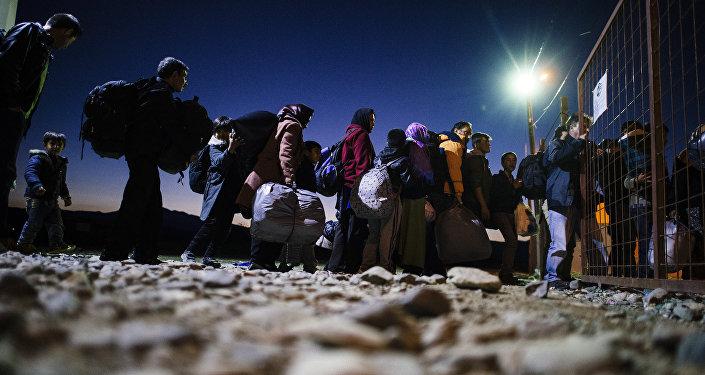 Refugiados en la frontera entre Macedonia y Grecia