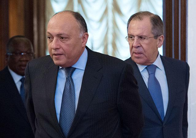 El ministro egipcio de Exteriores, Sameh Shoukry, y el canciller ruso, Serguéi Lavrov (archivo)