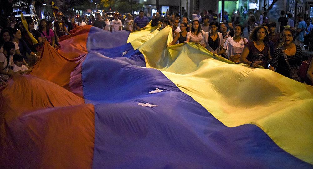 Partidarios de la oposición venezolana en Caracas