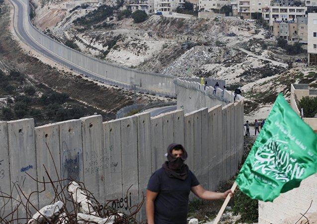 Un palestino con bandera del grupo islamista Hamás