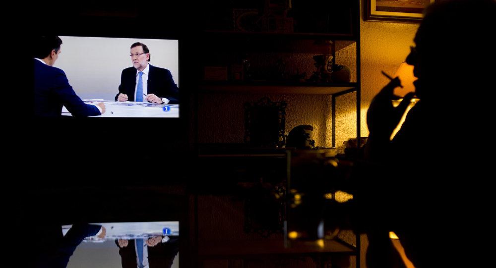 Debate televisivo entre Mariano Rajoy, presidente del PP, y Pedro Sánchez, presidente del PSOE