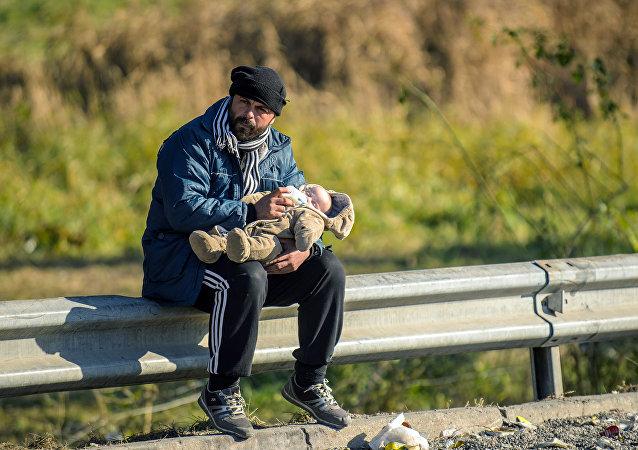 Refugiados en la frontera con Austria