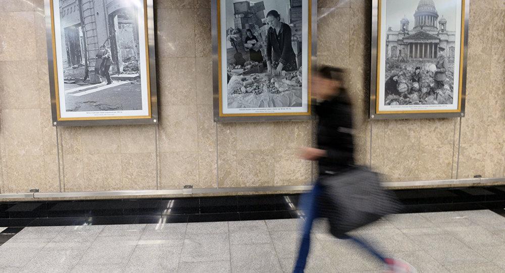 Exposición fotográfica en el metro de Moscú