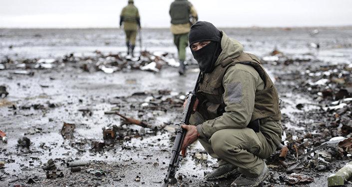 Milicianos de la RPD en Donetsk