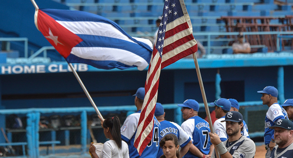 US Penn State university baseball team before a game with Cuban Industriales team at the Latin American stadium in Havana