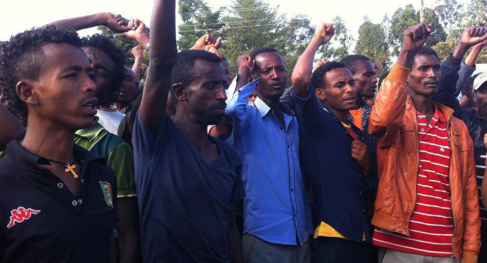 Manifestación de protesta en Wolenkomi, Etiopía