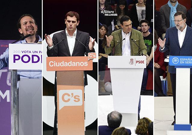Pablo Iglesias, Albert Rivera, Pedro Sánchez, Mariano Rajoy (i-d)