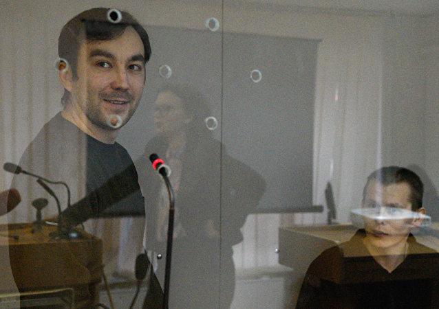 Ciudadanos rusos, Evgueni Eroféev y Alexandr Alexándrov, durante el proceso penal en Ucrania