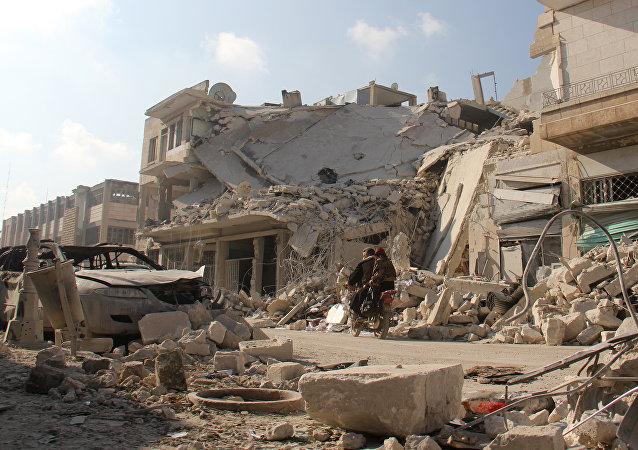 Edificios destruidos en Idlib, Siria