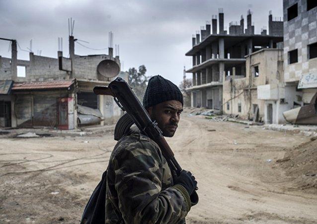 Soldado sirio en Damasco