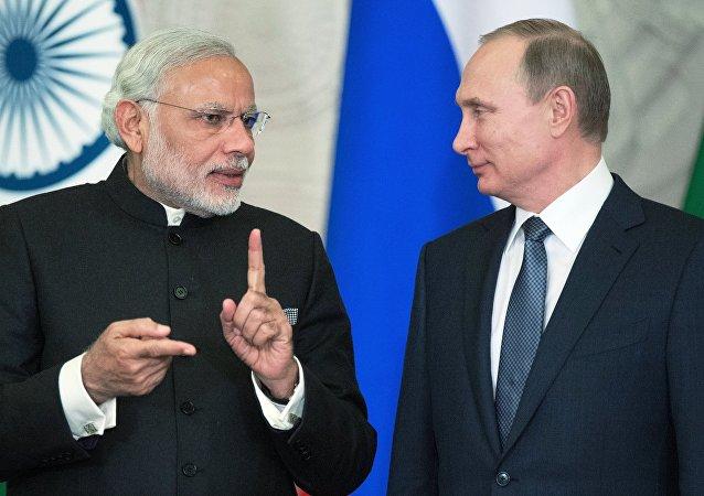 Narendra Modi, presidente indio, y Vladímir Putin, presidente de Rusia (archivo)