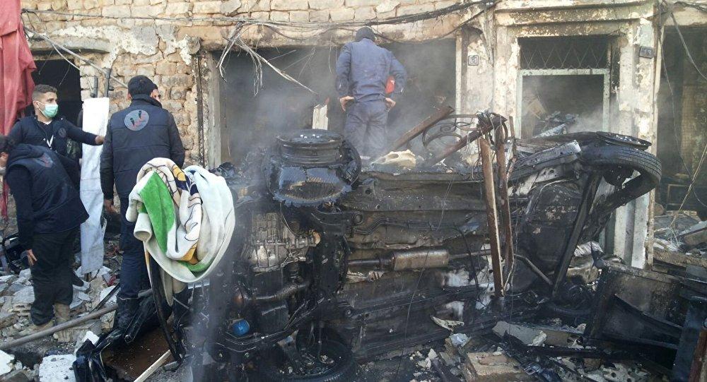 Lugar del atentado en la ciudad siria de Homs