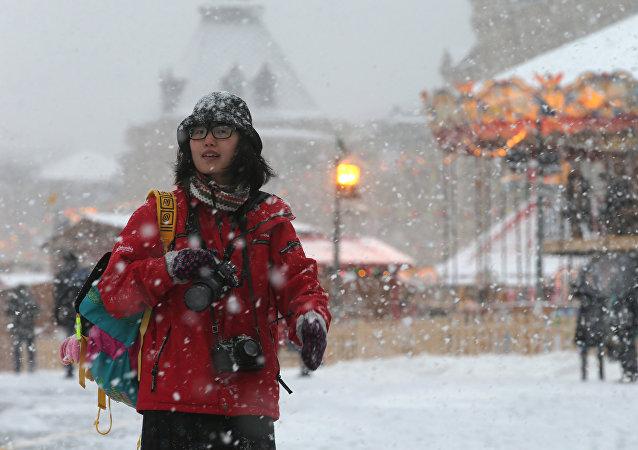 Una turista china en Moscú
