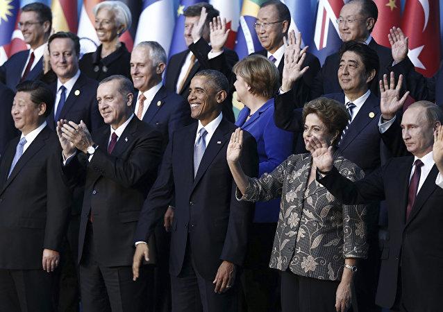 Líderes mundiales durante la cumbre de G20 en Antalya