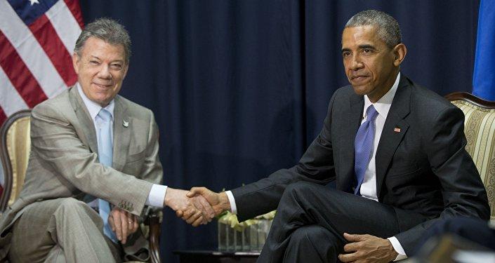 Presidente de Colombia, Juan Manuel Santos y presidente de EEUU, Barack Obama