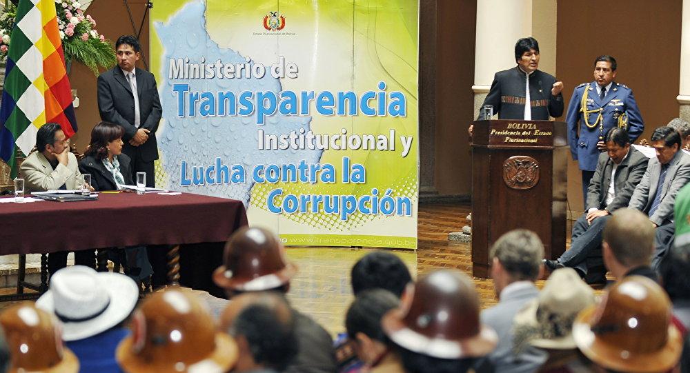 Presidente de Bolivia, Evo Morales durante la presentación de la ley contra la corrupción