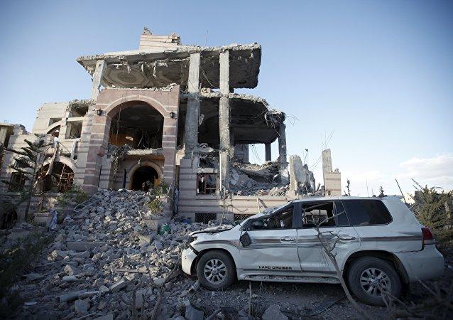 Edificios destruidos en Yemen