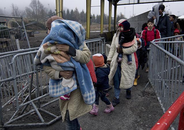 Refugiados en la frontera entre Austria y Slovenia