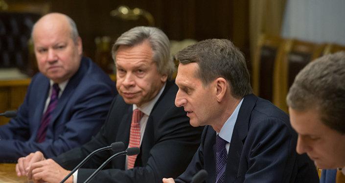 El presidente de la Cámara Baja de Rusia, Serguéi Narishkin  y el jefe del comité de asuntos internacionales en la Cámara Baja, Alexéi Pushkov