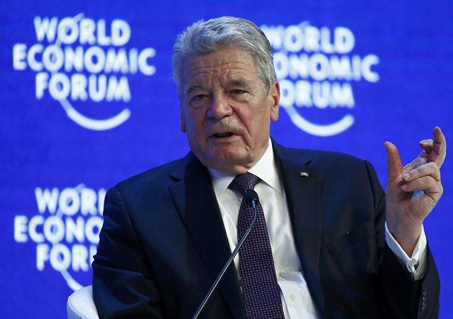 Presidente de Alemania, Joachim Gauck en el Foro Económico en Davos