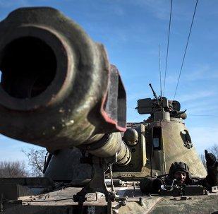 Un tanque ucraniano en el este de Ucrania