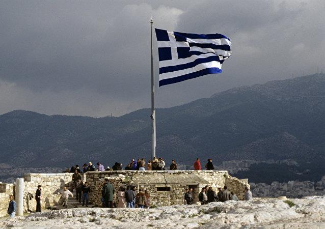 La bandera de Grecia (archivo)