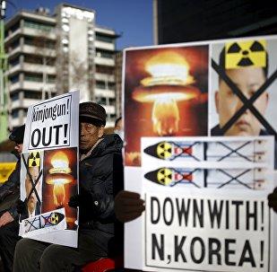 Una manifestación anti-norcoreana en Seúl, Corea del Sur