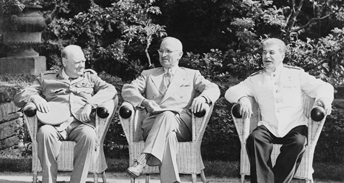 Stalin, Truman y Churchill, Potsdam, 1945