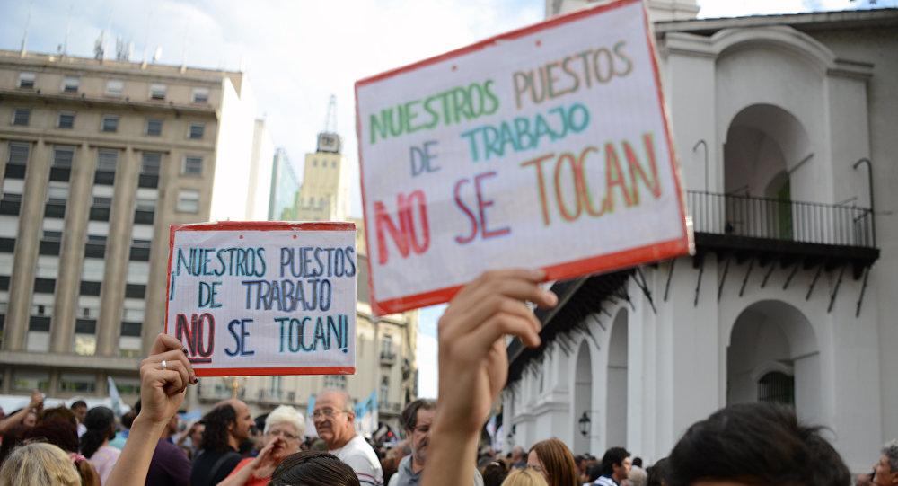 Una manifestación en Buenos Aires contra despidos