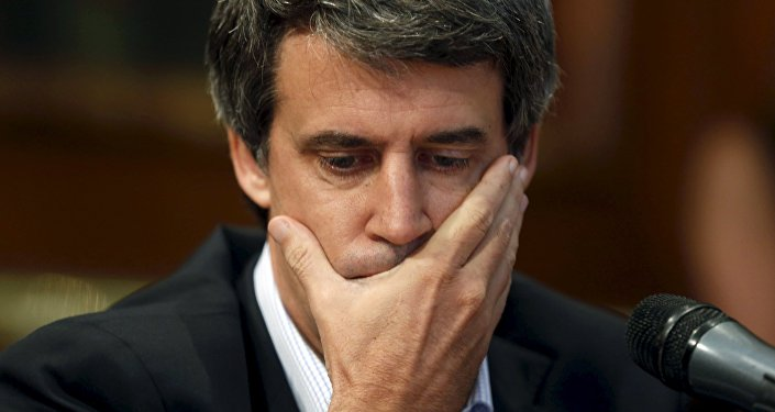 Alfonso Prat-Gay, exministro de Hacienda argentino durante una rueda de prensa en Buenos Aires, Argentina