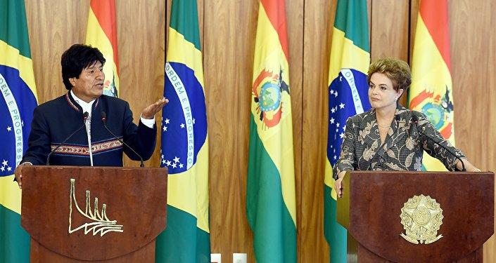 Presidente de Bolivia, Evo Morales y presidenta de Brasil, Dilma Rousseff