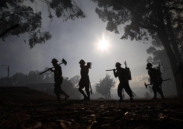 Soldados ayudan a controlar un incendio forestal, Bogotá