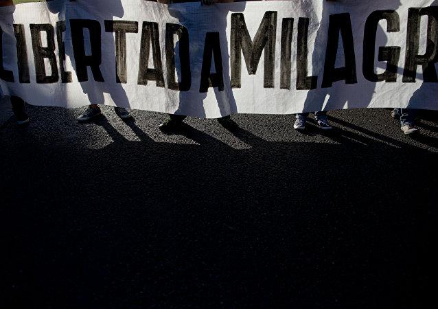 Protesta por la libertad de Milagro Sala (archivo)