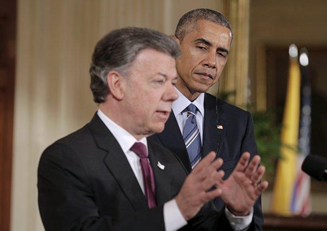 Presidente de Colombia Juan Manuel Santos y presidente de EEUU Barack Obama