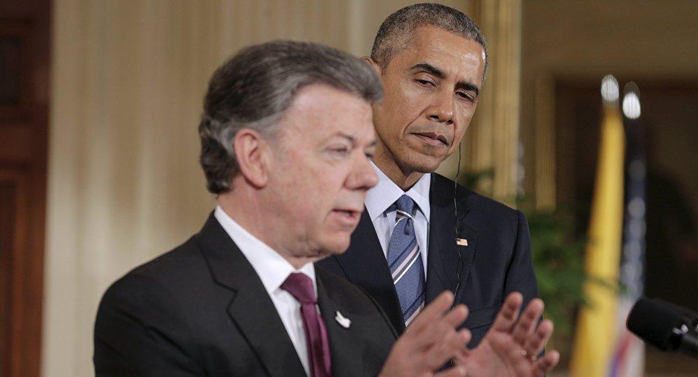 Presidente de Colombia Juan Manuel Santos y presidente de EEUU Barack Obama (Archivo)