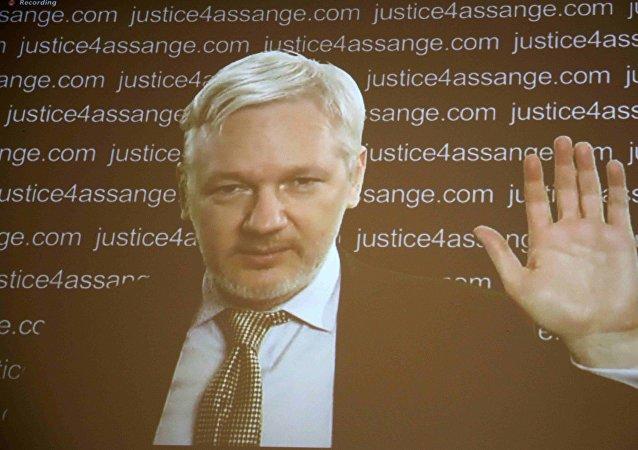 Julian Assange aparece en la pantalla de la rueda de prensa vía vídeo