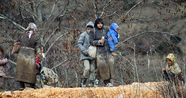 Los sirios en Khirbet Al-Joz, cerca de Latakia