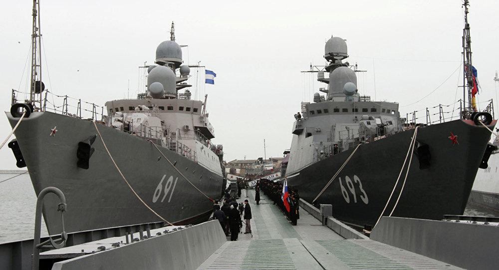 Buques Dagestan y Tatarstan de la Flotilla del Caspio (archivo)