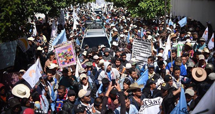 Una marcha de protesta de campesinos en Guatemala (archivo)