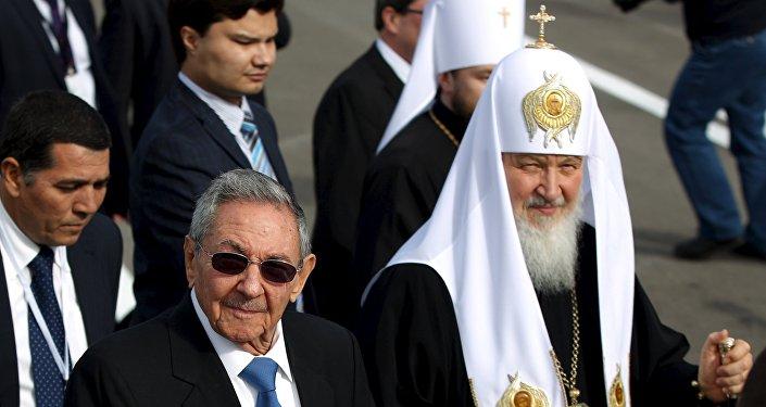 Raúl Castro, presidente de Cuba, y Patriarca ruso Kiril