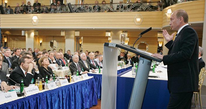 Presidente de Rusia, Vladímir Putin, durante su discurso en Múnich en 2007