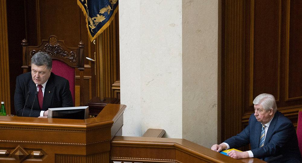 Presidente de Ucrania, Petró Poroshenko y exfiscal general de Ucrania, Viktor Shokin