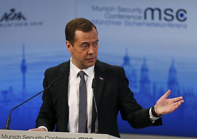 Dmitri Medvédev, primer ministro de Rusia, durante la Conferencia de Seguridad de Múnich