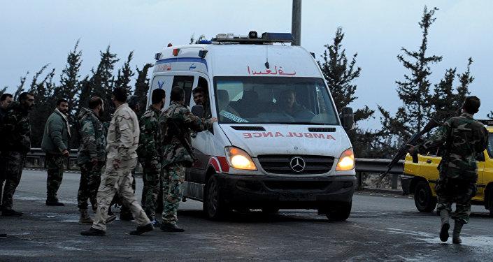 Ambulancia en el lugar del atentado en Damasco (archivo)