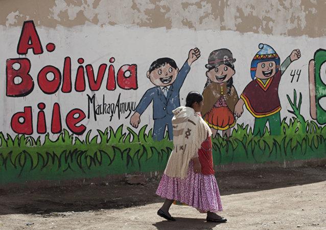 Una mujer aymara pasa junto a un mural en favor del presidente Evo Morales, en El Alto, Bolivia
