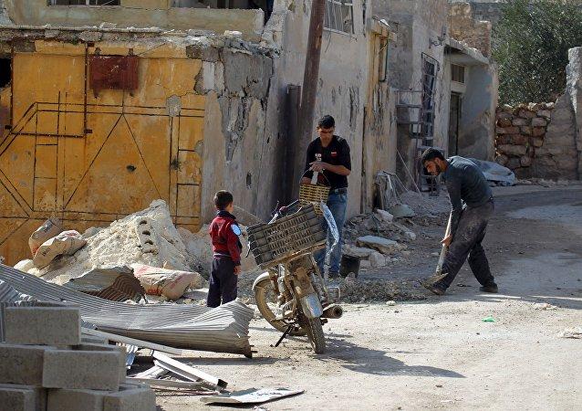Edificios destruidos en Alepo, Siria