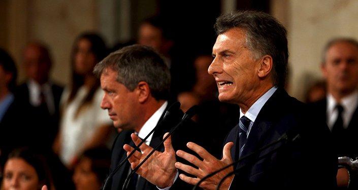 Mauricio Macri, presidente de Argentina, durante el primer discurso ante la asamblea legislativa