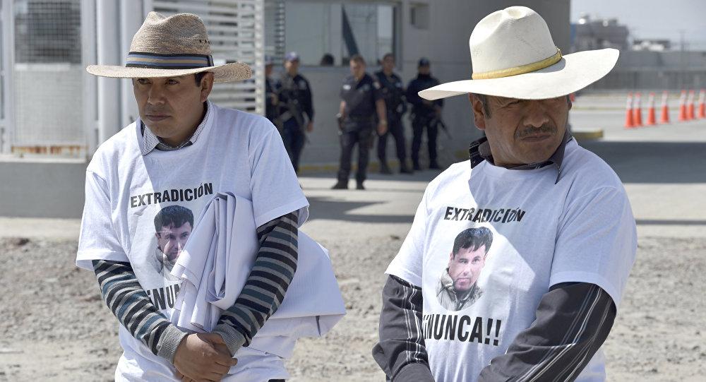 Manifestación en contra de la extradición de El Chapo